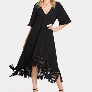 NWOT ~ BOHO CHIC Macrame Fringe Trim Dress